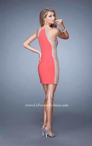 Picture of: Short Cocktail Dress with Sheer Straps and Scoop Neck, Style: 21117, Back Picture