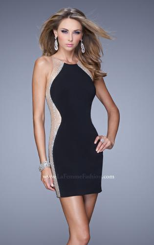 Picture of: Short Cocktail Dress with Sheer Straps and Scoop Neck, Style: 21117, Detail Picture 1