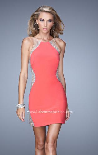 Picture of: Short Cocktail Dress with Sheer Straps and Scoop Neck, Style: 21117, Detail Picture 2