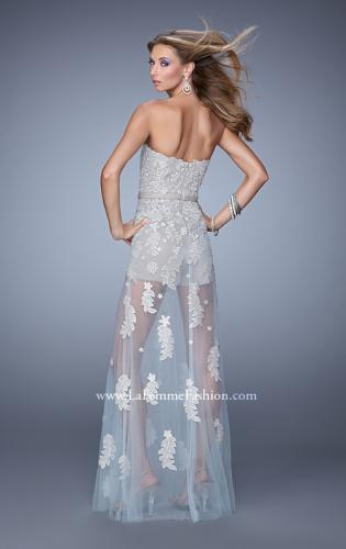 Picture of: Metallic Embroidered Jumpsuit with Sheer Tulle Overlay, Style: 21165, Back Picture