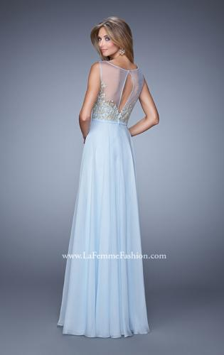 Picture of: Embroidered Bodice Long Prom Gown with Scoop Neck, Style: 21182, Back Picture