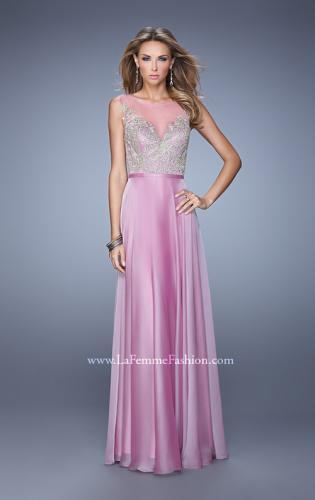 Picture of: Embroidered Bodice Long Prom Gown with Scoop Neck, Style: 21182, Detail Picture 2