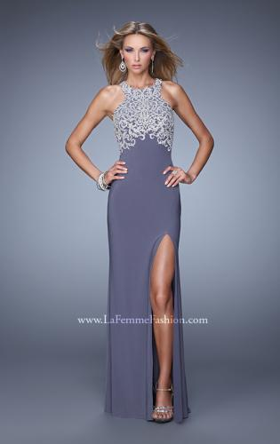 Picture of: Halter Prom Dress with Embroidery and Open Back, Style: 21183, Back Picture