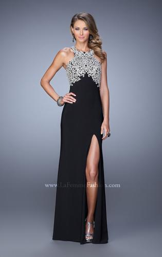 Picture of: Halter Prom Dress with Embroidery and Open Back, Style: 21183, Detail Picture 1