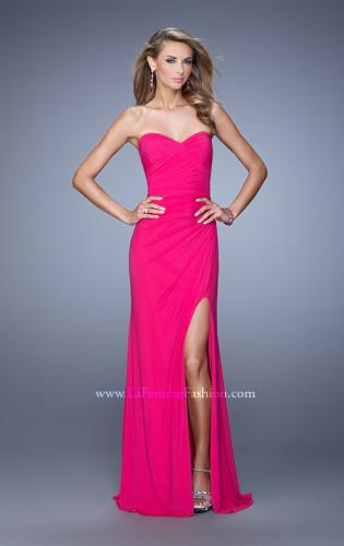 Picture of: Modern Long Prom Dress with Ruched Bodice and Slit, Style: 21193, Detail Picture 1