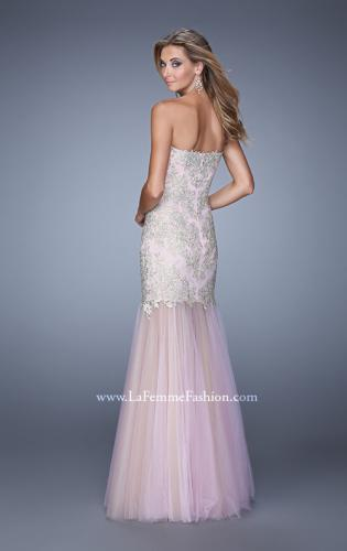 Picture of: Embroidered Mermaid Dress with Sheer Tulle Skirt, Style: 21216, Back Picture