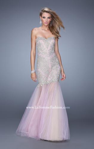 Picture of: Embroidered Mermaid Dress with Sheer Tulle Skirt, Style: 21216, Detail Picture 1