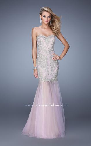 Picture of: Embroidered Mermaid Dress with Sheer Tulle Skirt, Style: 21216, Detail Picture 2