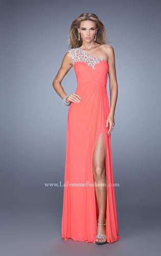 Picture of: Long One Shoulder Jersey Prom Dress with Embroidery, Style: 21219, Main Picture