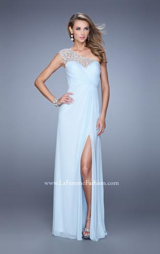Picture of: Long One Shoulder Jersey Prom Dress with Embroidery, Style: 21219, Detail Picture 1