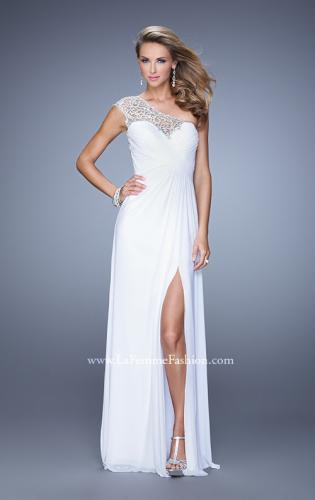 Picture of: Long One Shoulder Jersey Prom Dress with Embroidery, Style: 21219, Detail Picture 2