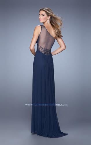 Picture of: One Shoulder Prom Dress with Net Overlay and Beads, Style: 21239, Back Picture