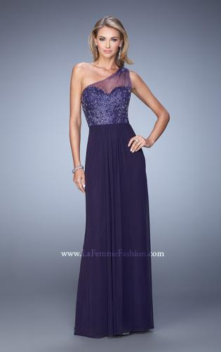 Picture of: One Shoulder Prom Dress with Net Overlay and Beads, Style: 21239, Detail Picture 1