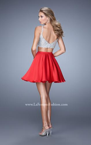 Picture of: Flirty Two Piece Gown with Satin Skirt and Rhinestones, Style: 21244, Back Picture