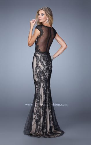 Picture of: Cap Sleeve Long Prom Dress with Embroidery and Beads, Style: 21259, Back Picture