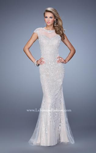 Picture of: Cap Sleeve Long Prom Dress with Embroidery and Beads, Style: 21259, Detail Picture 1
