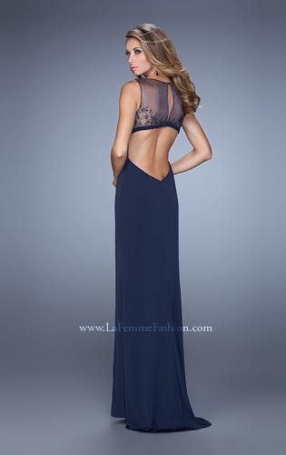 Picture of: V Neckline Jersey Prom Gown with Cut Outs and Beading, Style: 21266, Back Picture