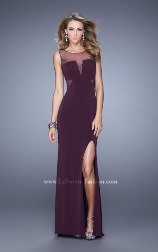 Picture of: V Neckline Jersey Prom Gown with Cut Outs and Beading, Style: 21266, Detail Picture 1