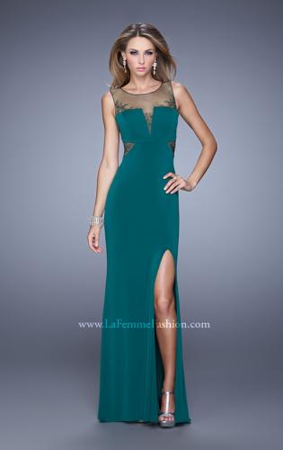 Picture of: V Neckline Jersey Prom Gown with Cut Outs and Beading, Style: 21266, Detail Picture 2