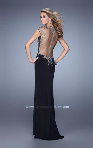 Picture of: Long Jersey Prom Dress with Sheer Neckline and Back, Style: 21267, Back Picture