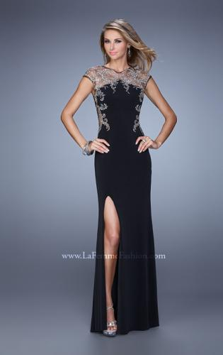 Picture of: Long Jersey Prom Dress with Sheer Neckline and Back, Style: 21267, Detail Picture 1