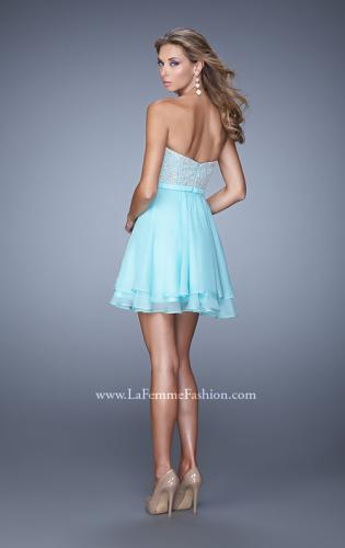 Picture of: Chiffon Cocktail Dress with Tiered Skirt and Lace Overlay, Style: 21284, Back Picture