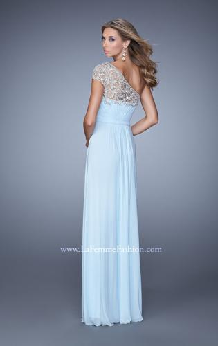 Picture of: One Shoulder Prom Dress with Embroidered Sleeves, Style: 21309, Back Picture