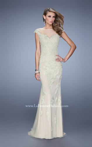 Picture of: Embellished Cap Sleeve Prom Dress with Open Back, Style: 21319, Main Picture