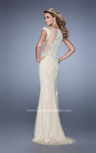 Picture of: Embellished Cap Sleeve Prom Dress with Open Back, Style: 21319, Back Picture