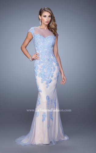 Picture of: Embellished Cap Sleeve Prom Dress with Open Back, Style: 21319, Detail Picture 1
