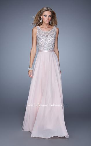 Picture of: Beaded Bodice Chiffon Prom Dress with Satin Belt, Style: 21322, Main Picture