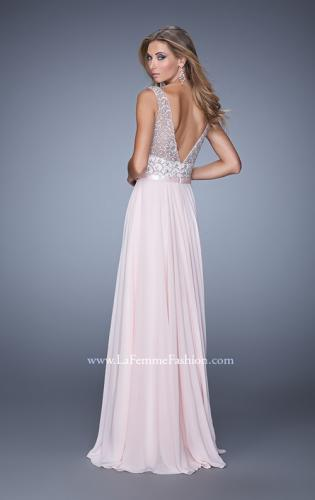 Picture of: Beaded Bodice Chiffon Prom Dress with Satin Belt, Style: 21322, Back Picture