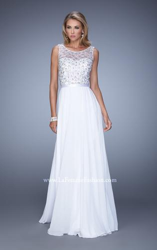 Picture of: Beaded Bodice Chiffon Prom Dress with Satin Belt, Style: 21322, Detail Picture 1
