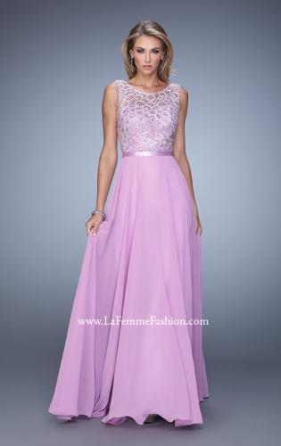 Picture of: Beaded Bodice Chiffon Prom Dress with Satin Belt, Style: 21322, Detail Picture 2
