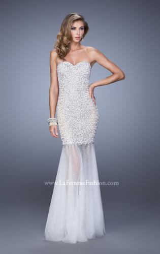Picture of: Strapless Prom Gown with Full Skirt, Pearls, and Stones, Style: 21324, Detail Picture 1