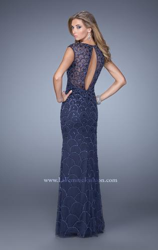 Picture of: Jersey Prom Dress with Sheer Net Overlay and Beads, Style: 21325, Back Picture