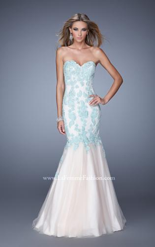 Picture of: Tulle Mermaid Prom Gown with Beaded Lace Straps, Style: 21369, Main Picture