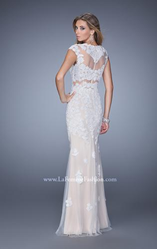 Picture of: Long Cap Sleeve Prom Dress with Lace Appliques and Stones, Style: 21371, Back Picture