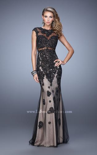 Picture of: Long Cap Sleeve Prom Dress with Lace Appliques and Stones, Style: 21371, Detail Picture 1