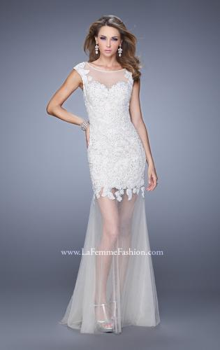 Picture of: Glam Lace Prom Dress with Cap Sleeves and Tulle Skirt, Style: 21373, Detail Picture 1