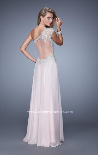 Picture of: One Shoulder Chiffon Prom Dress with Metallic Embroidery, Style: 21379, Back Picture