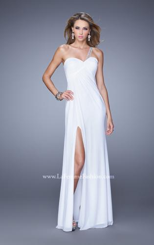 Picture of: One Shoulder Prom Gown with Gathered Bodice and Stones, Style: 21384, Detail Picture 1