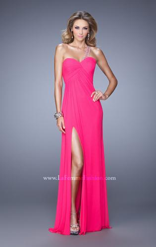 Picture of: One Shoulder Prom Gown with Gathered Bodice and Stones, Style: 21384, Detail Picture 2