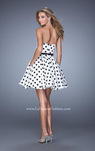 Picture of: Polka Dot Cocktail Dress with Satin Bow Belt and Pockets, Style: 21388, Back Picture