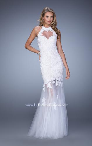 Picture of: Sheer Halter Mermaid Prom Dress with Lace Appliques, Style: 21400, Detail Picture 1