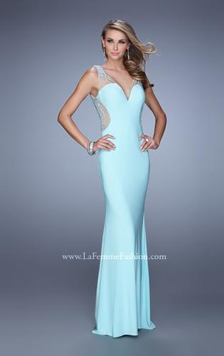 Picture of: Fitted Jersey Dress with Pearls and Scoop Open Back, Style: 21413, Main Picture