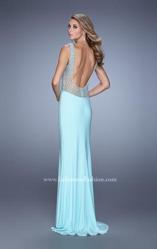Picture of: Fitted Jersey Dress with Pearls and Scoop Open Back, Style: 21413, Back Picture