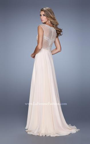 Picture of: Cap Sleeve Chiffon Dress with Stones, Beads, and Pearls, Style: 21414, Back Picture