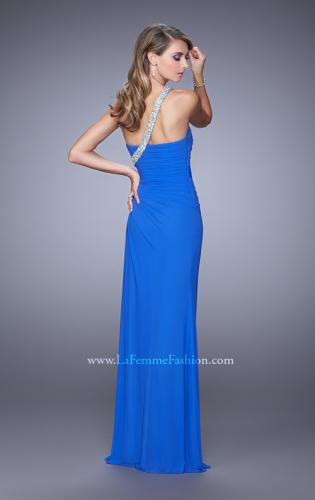 Picture of: One Shoulder Jersey Gown with Stones, Sequins, and Slit, Style: 21441, Back Picture