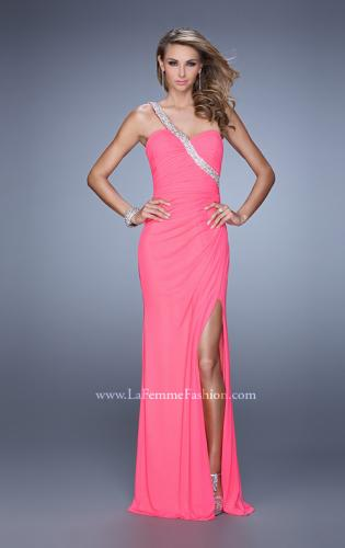 Picture of: One Shoulder Jersey Gown with Stones, Sequins, and Slit, Style: 21441, Detail Picture 2
